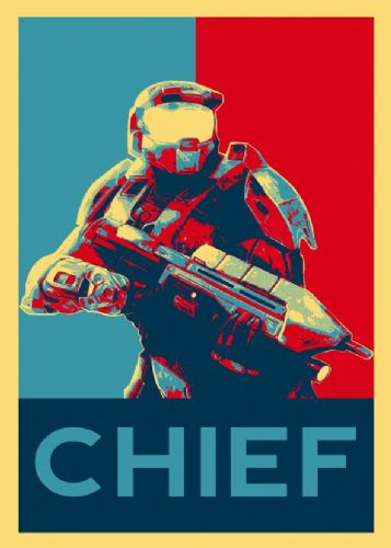 GAMES - HALO - CHIEF POP ART canvas print - self adhesive poster - photo print